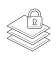 paper stack with lock line icon vector image