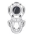 retro deep sea scuba equipment line art vector image