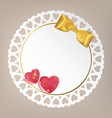 Round card with bow and heart vector image vector image