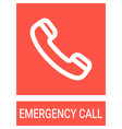 safety sign - emergency telephone sticker vector image vector image