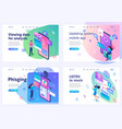 set isometric landing pages work with smartphone vector image vector image
