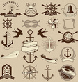 set nautical emblems and design elements vector image vector image