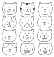 set of cat face vector image vector image