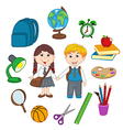 set of isolated children and school supplies vector image vector image