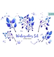 Set of leaves painted in watercolor on white paper vector image vector image