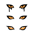 set three pairs evil monsters eyes vector image
