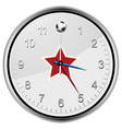 soccer football clock with red star vector image vector image