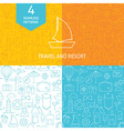 Thin Line Art Summer Holiday Travel Patterns Set vector image