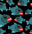 Toothy fish seamless background Evil piranhas in vector image vector image