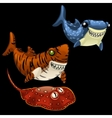 Two funny shark and Stingray on a black background vector image