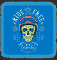 vintage skull biker label in blue and red color vector image vector image