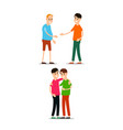 young man standing and greet each other young vector image vector image