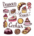 Baked sweet food icons Cake cookie donut labels vector image