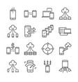 big data and data transfer line icon set vector image vector image