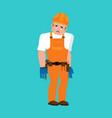 builder sad worker in protective helmet sorrowful vector image