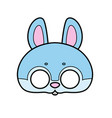 bunny mask with eye slits outline for coloring vector image vector image