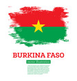 burkina faso flag with brush strokes independence vector image vector image
