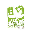 cannabis label original design logo graphic vector image