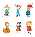 cartoon kids enjoy fall autumn activities vector image vector image