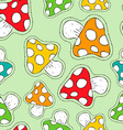 Colorful mushroom patch icon seamless pattern vector image