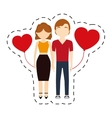 couple affection red hearts balloon vector image
