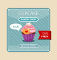 cute card pink cupcake with heart vector image vector image