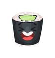 cute laughing sushi character roll with funny vector image vector image