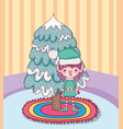 cute santa helper with pine tree in the house vector image vector image