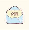 digitally drawn login pin design hand drawing vector image