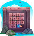 Fifteen puzzle in the form of stone blocks vector image vector image