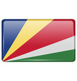 Flags SEYCHELLES in the form of a magnet on vector image