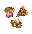 flat fast food objects set isolated vector image