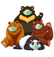 four type bear cartoon character wearing mask vector image vector image