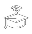 graduation cap with network wifi sign line icon vector image