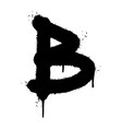 graffiti b font sprayed isolated on white vector image vector image