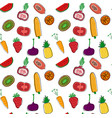 hand drawn colourful fruits and veggetables vector image