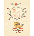 Hand drawn miss you card Valentines Day card vector image