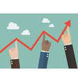 Hands pushing graph up vector image vector image
