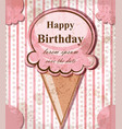 happy birthday baby card with ice cream vector image