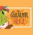 hello autumn fruits foliage nature seasonal vector image