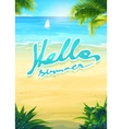 Hello summer - beach and sea boat vector image