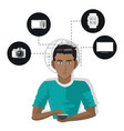 internet things man with smartphone technology vector image