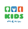 Kids Menu logo with funny spoon fork and knife vector image