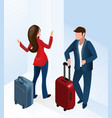 man and woman at hotel hall with luggage suitcase vector image vector image