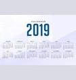 minimal white 2019 calendar design vector image