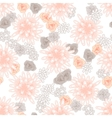 Mums flowers and roses seamless pink pattern vector image