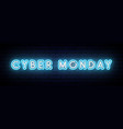 neon cyber monday banner neon lights cyber monday vector image vector image