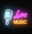 neon signboard of nightclub with live music vector image vector image