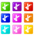 oil paints icons 9 set vector image vector image