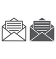 open mail line and glyph icon envelope and letter vector image